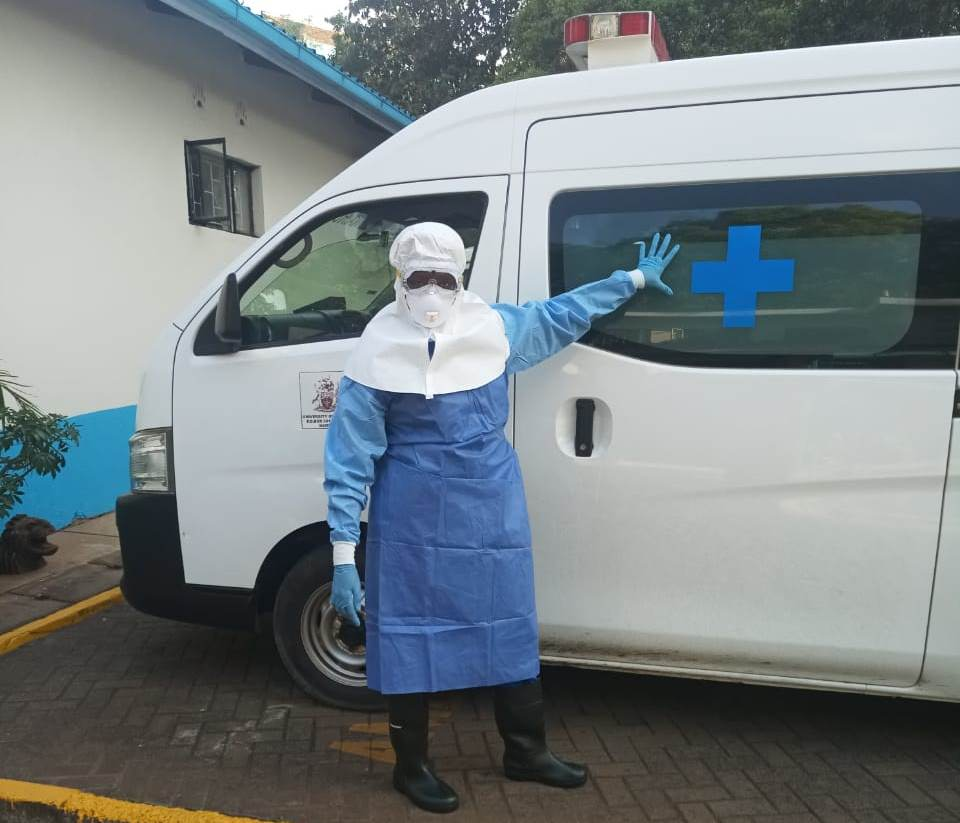 A nurse in Full protective gear at the Facility