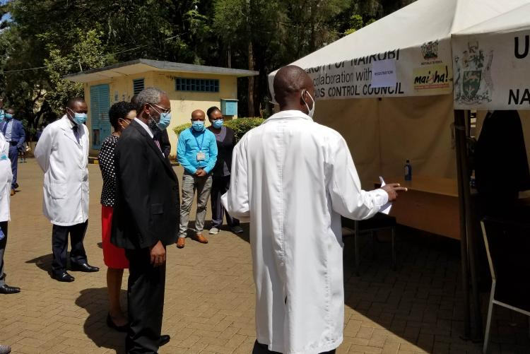 Vice Chancellor is shown around the vaccination centre by the CMO